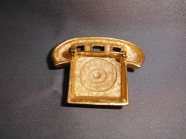 VTG Large Gold Tone Telephone Pin Brooch image 2