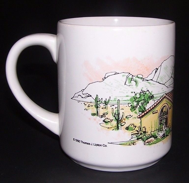 Coffee Mug Southwest Cactus Mountain Ranch House Ceramic Cup Green Brown White