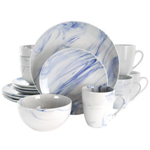 Elama Fine Marble 16 Piece Stoneware Dinnerware Set in Blue and White - $62.02