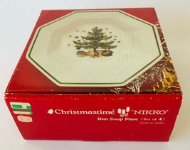Nikko Christmastime 4 Rim Soup Plates Bowls Made in Japan in Box Holiday... - $81.27