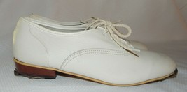 VTG Vintage Unbranded TAP Dance Leather  White Shoes Womens 7W - $9.89