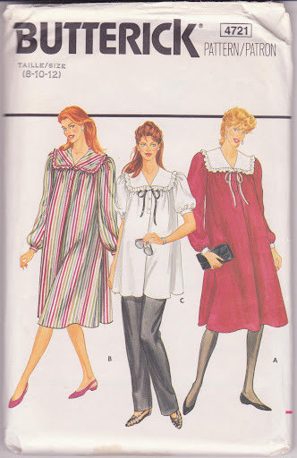 Maternity Dress Tunic Pants Misses' 8 10 12 Vintage Butterick Pattern 4721 Facto