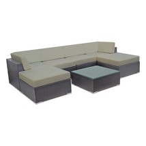 Outdoor Wicker Sectional Sofa Set Patio Couch Rattan w/ Ottoman & Table ... - $1,185.00