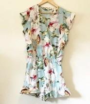 UMGEE Romper Size Small Women's Blue Floral V Neck Shorts Romper NWOT - $23.38