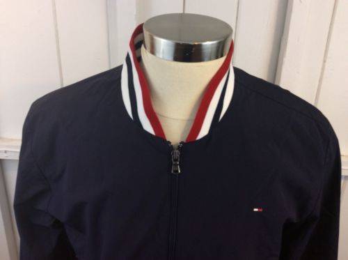 Tommy Hilfiger Blue Box Logo Zip Up Lined Jacket Size L Members Only Style image 3