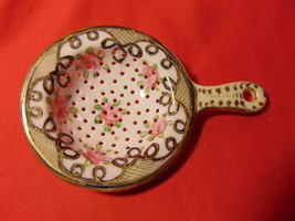 """3 1/2"""" Diameter, Porcelain Tea Bag Strainer. Unmarked. - $19.99"""