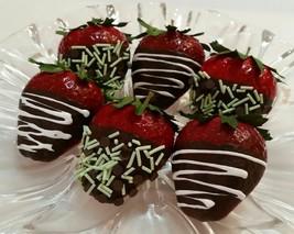 Fake Dipped Strawberries Chocolate MINT- Jumbo Set Of 6 Prop Decoration - $24.74