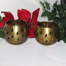 VINTAGE SOLID BRASS CANDLE HOLDER 2 PIERCED CHRISTMAS TREE CUTOUTS ROLY ... - $7.61