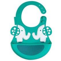 Creative Elephant Cartoon Button Silicone Baby Bibs Pocket Meals image 2