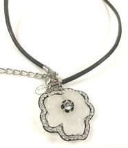 Kenneth Lane KJL Rhinestone flower Adjustable Pendant choker cord necklace - $63.05