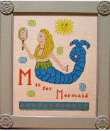 M is for Mermaid cross stitch chart Samplers Re... - $12.60
