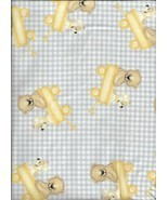 A.E. Nathan Comfy Flannel Print Bear Dog in Wagon Grey Check Fabric bt H... - $3.96