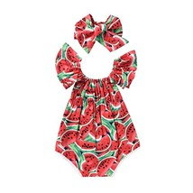 Scfcloth Newborn Baby Girls Clothes Watermelon Print Lace Ruffle Backles... - $15.08