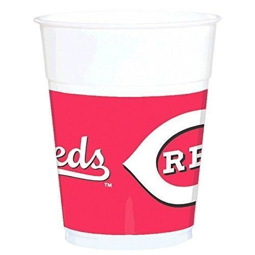 Cincinnati Reds Party Cups Tableware, Plastic, 14 Ounces, Pack of 25