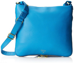 FOSSIL® Preston, Leather Crossbody Bag- Medium Blue - $79.90