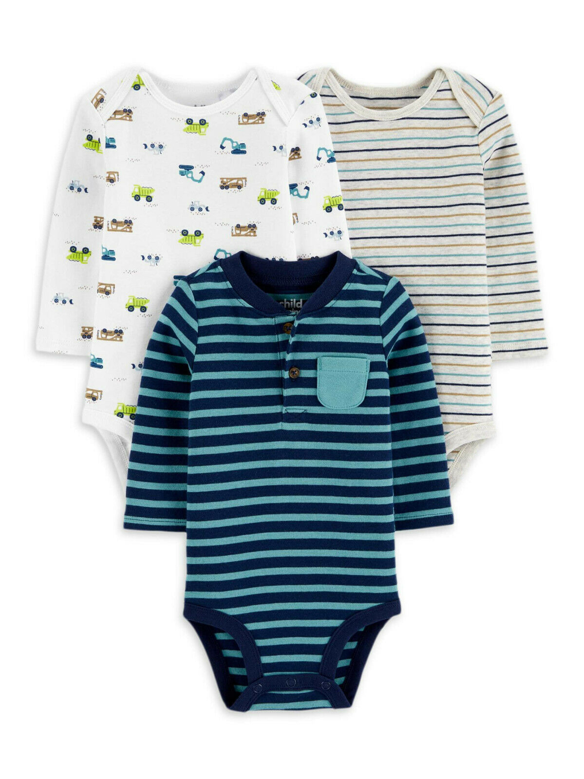 Child of Mine by Carter's Baby Boy Long Sleeve Bodysuits, 3-Pack 0-3M - $24.99