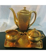 Vintage Pickard gold  Gilded rose / daisy  coffee creamer sugar tray signed - $332.50