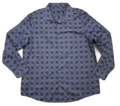 Tasso Elba Medallion Tapestry Print Stretch Button-Up Shirt Men's 2XL Bl... - $44.55