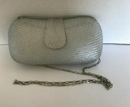 Tixxi & Company Silver Hard Shell Clutch Shoulder Purse Woven 9 W 4.5 H - $19.80