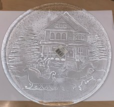 "Vintage Libbey Glass Christmas Serving Plate/Platter SLEIGH RIDE 13"" DIA... - $12.25"