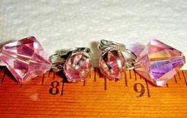 VTG 1950's CZECH GLASS FLOWER CHOKER HUGE PINK RHINESTONE DROP CLIP EARR... - $237.99
