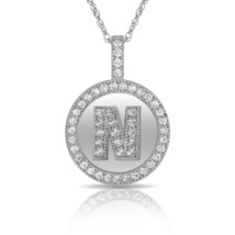 """14K Solid White Gold Round Circle Initial """"N"""" Letter Charm Pendant & Nec... - $30.99+"""