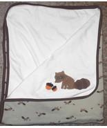 Gymboree Outdoor Whimsy Raccoon Baby Blanket Acorns Brown Cream Green Co... - $34.63
