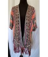 Ella Moss Cardi Poncho Multi Color Geometric Print Short Sleeves Pockets... - $55.68
