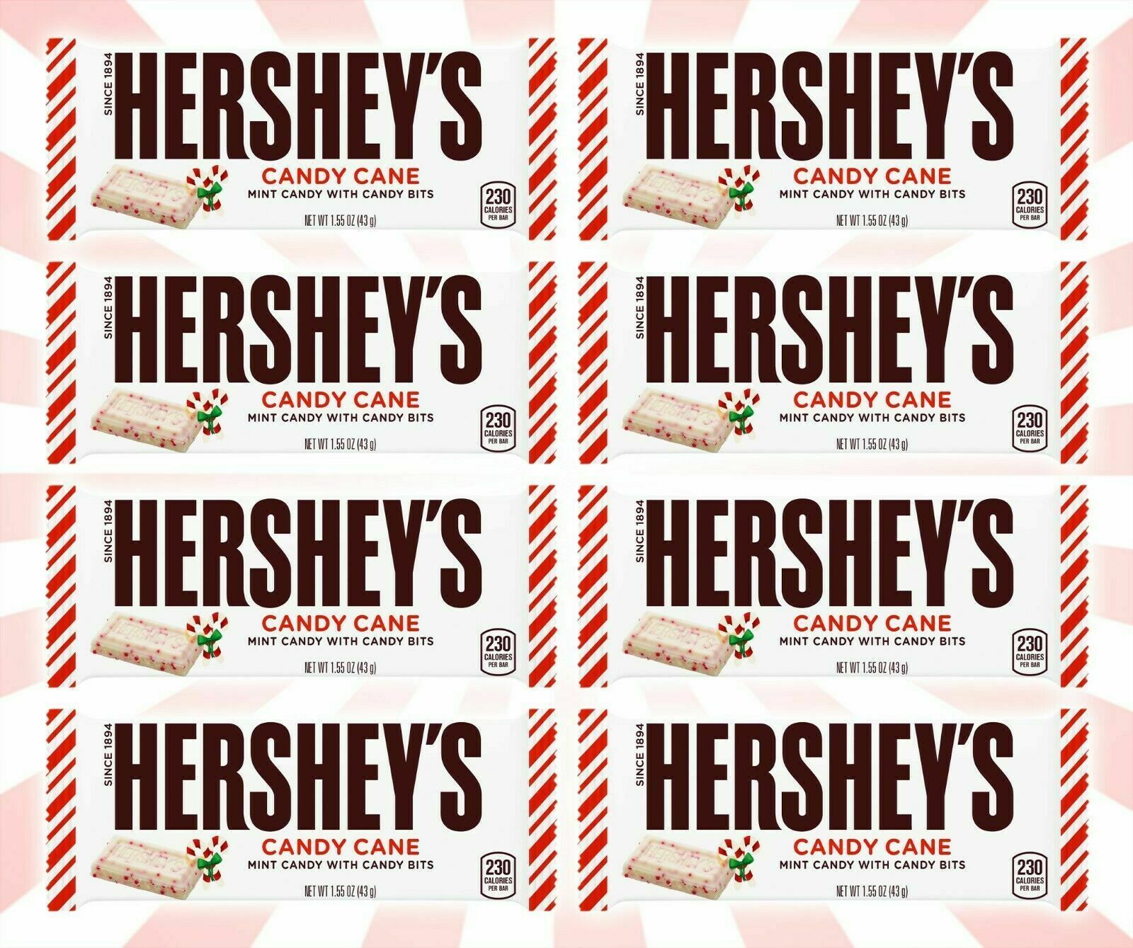 8 Hershey's Candy Cane Chocolate Bar Christmas candy LIMITED EDITION 1.5 OZ