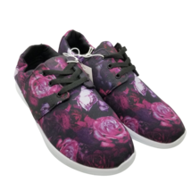 Mossimo Litzy Sneakers Pink Purple Floral Roses Athletic Tied Shoes Wome... - $15.88