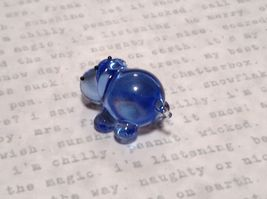 Miniature small hand blown glass blue hippo  made USA NIB image 3
