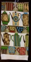 COFFEE KITCHEN SET 3pc Towels Potholder Colorful Cups Pots Stripes Brown NEW image 3