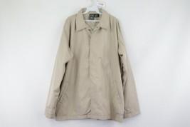 Oakley Software Mens XL Full Button Lined Windbreaker Coaches Jacket Khaki Tan - $34.60