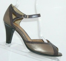 Sofft bronze leather round peep toe buckle ankle strap sandal heels 9M 7095 - $30.50