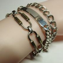 Vintage 3 Piece Lot Solid Sterling Silver ID Curb Bar Link Bracelet 43.1... - $73.26