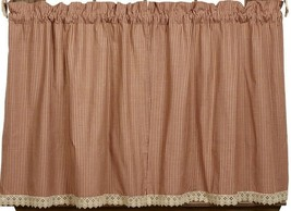 shabby chic country farmhouse AVA WINE & beige plaid TIER curtains w lac... - $41.95