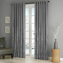 Luxury Grey Faux Silk Embroidered Lined Rod Pocket Curtain Panel - ALL S... - $47.49+