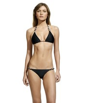 ViX SOLID BLACK DOUBLE FACE KNOT REVERSIBLE TRIANGLE BIKINI TOP (S) NWT $99 - $1.454,31 MXN