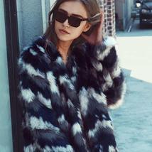 Women's Multicolor Luxury Designer Brand Fashion Faux Fur Coat image 2