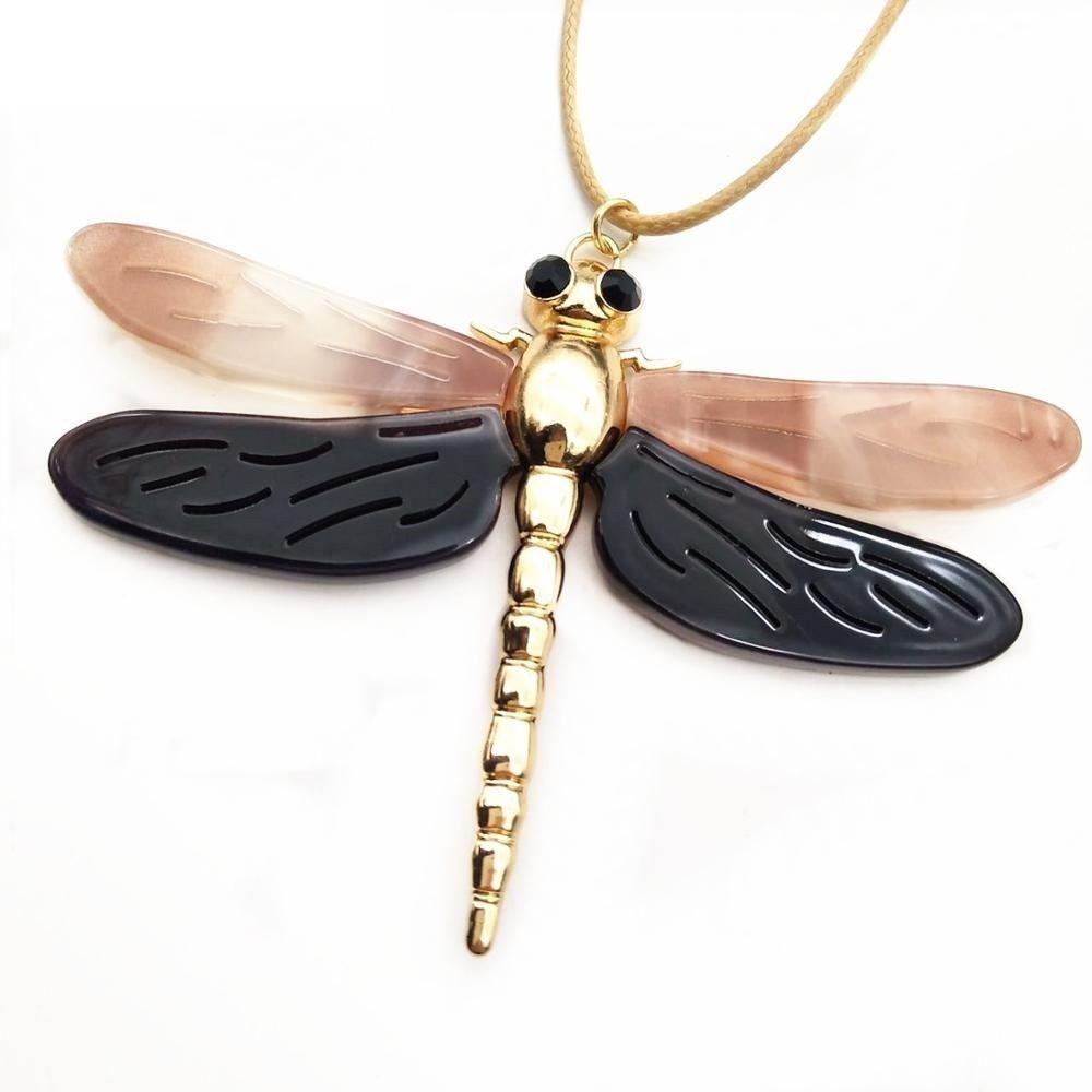 Women Dragonfly Necklace Pendant Zinc Alloy Statement Color Collar Accessories image 7