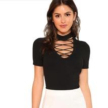 Elegant Crisscross Choker V Neck Short Sleeves Women Sexy T Shirt Slim Fit Type  - $17.79