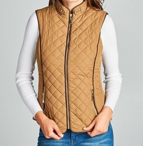 Camel Faux Shearling Lined Vest, Lined Puffer Vest, Camel Puffer Vest, Camel