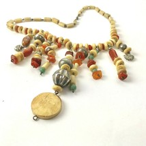 Vintage Polished Stone Necklace 70s Boho Earth tones festival Statement - $23.71