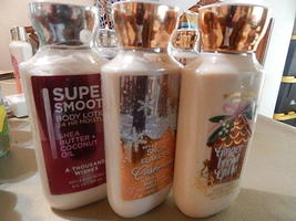 NEW 3 BATH BODY WORKS SUPER SMOOTH GINGER BREAD LATTE SNOW FLAKES& CASHMERE - $28.00