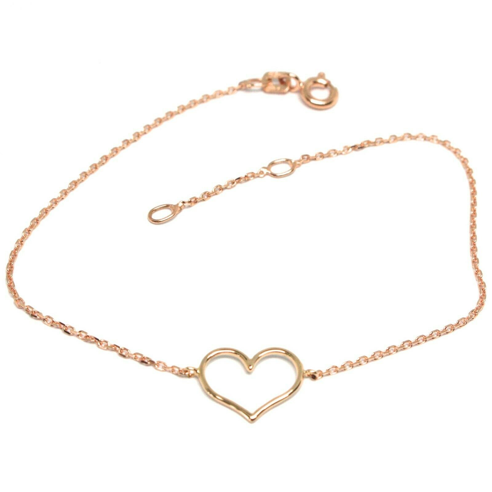 18K ROSE GOLD SQUARE ROLO MINI BRACELET, 7.1 INCHES, OPENWORK HEART, ITALY MADE