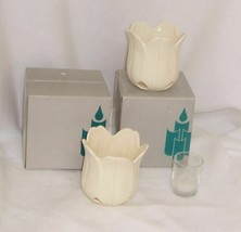 PartyLite Petal Light Tealight or Votive Holder Pair With Tealights  - $14.80