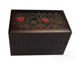 Playing Card Box Polish Handmade Linden Wooden Keepsake Cards Box - $29.69
