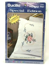 Bucilla Rose Heart Pillowcase Pair 63312 Special Edition Cross Stitch Kit Flower - $14.24