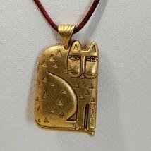 Very Rare Vintage Laurel Burch gold tone cat pendant necklace - $53.96