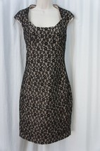 Sangria Dress Sz 10 Black Lace Over Nude Evening Dinner Cocktail Sheath ... - $49.44